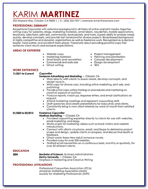 Free Templates Of Resumes In Word