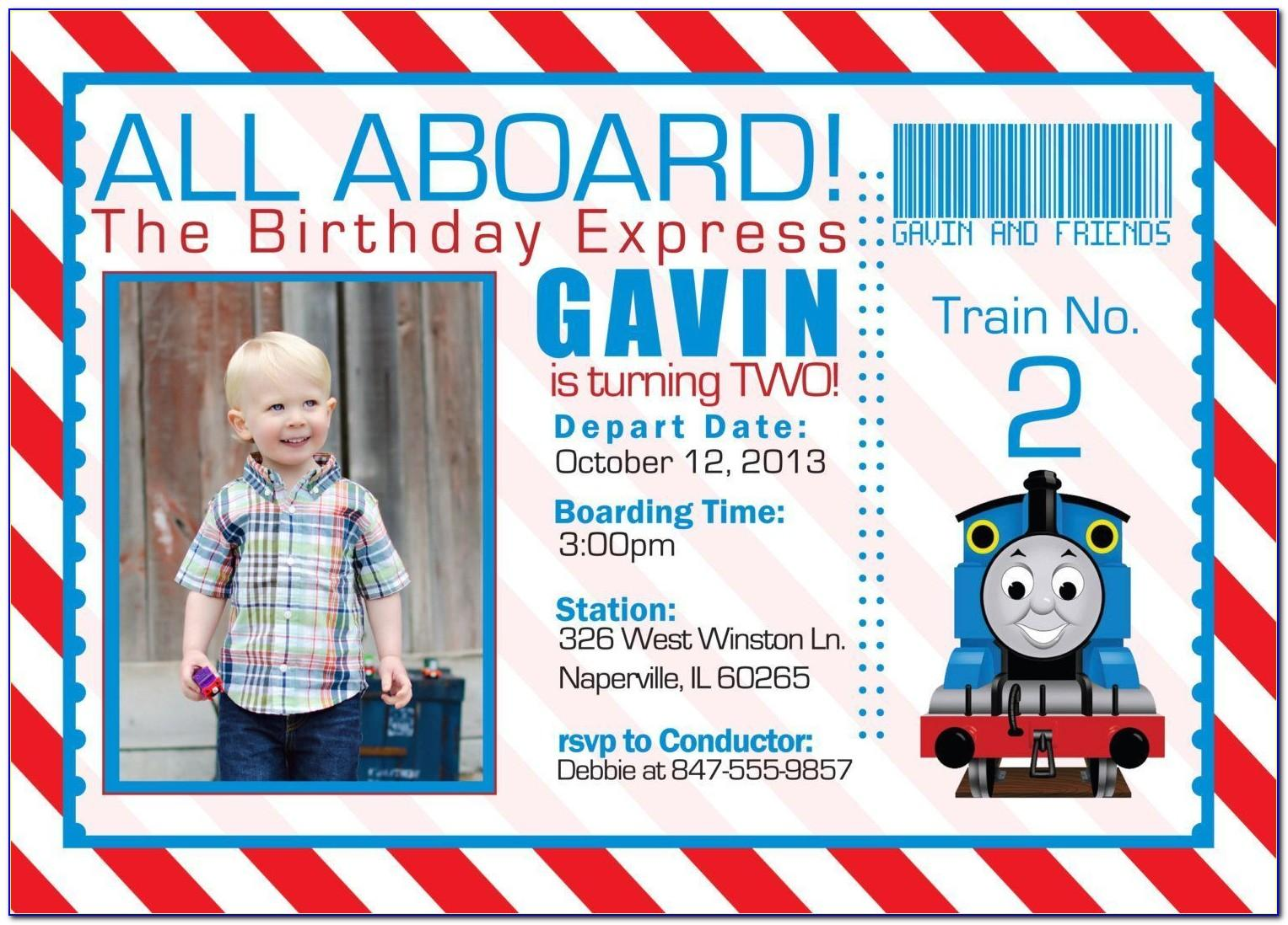 Free Thomas The Train Invitations Template