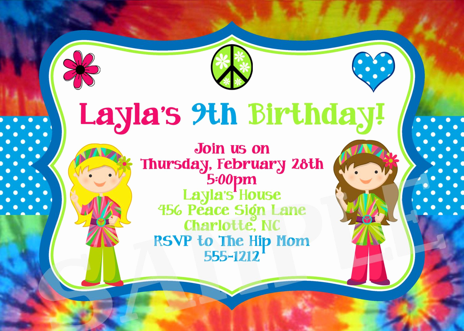 Tie Dye Invitation Template Free Fresh Download Now Free Template Tie Dye Birthday Party