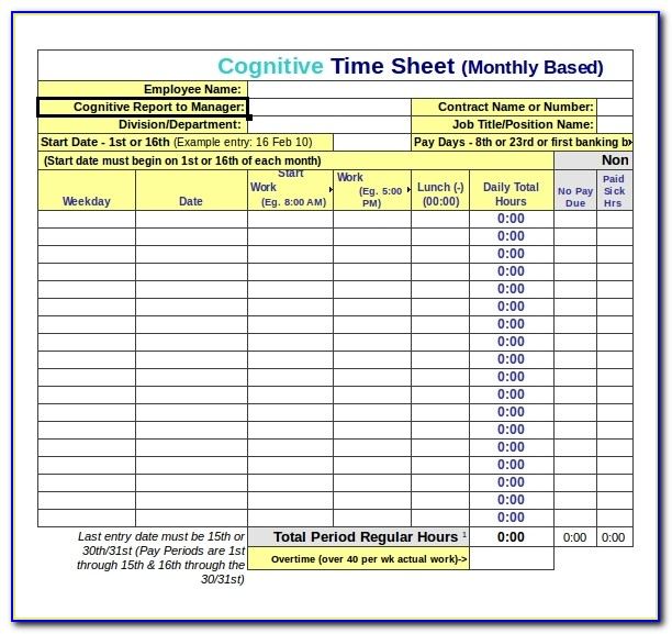 Free Timesheet Template Download