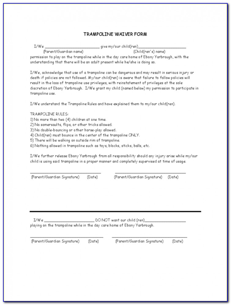Free Trampoline Liability Waiver Form