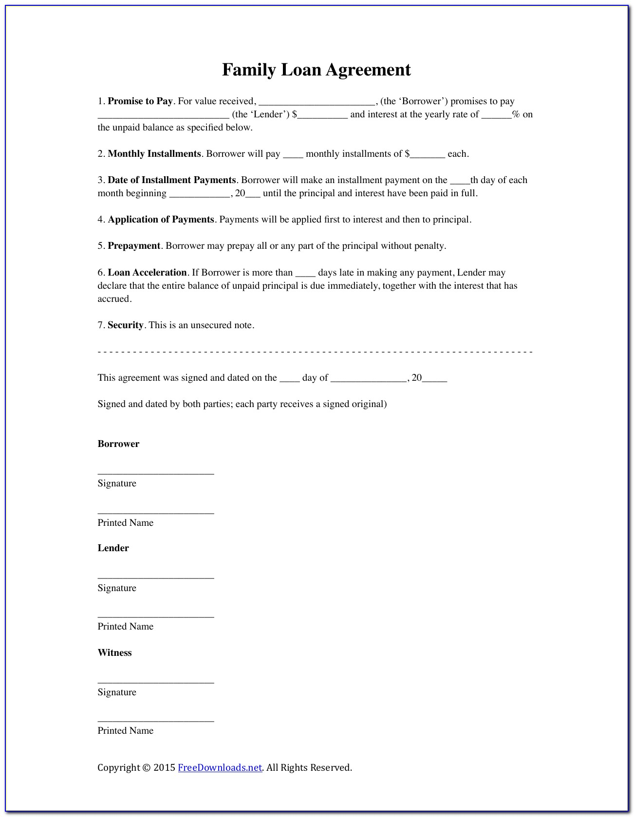 Free Unsecured Loan Agreement Template Uk