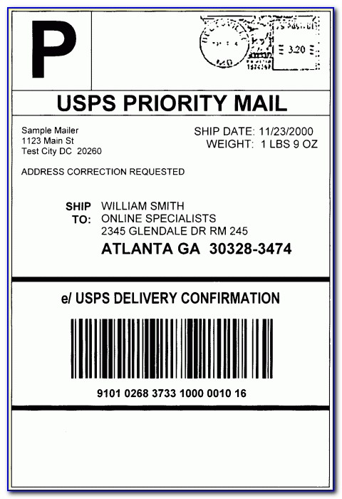 Free Usps Shipping Label Template