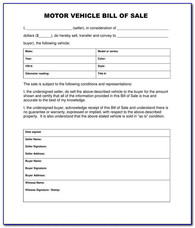 Free Vehicle Bill Of Sale Form Free Printable