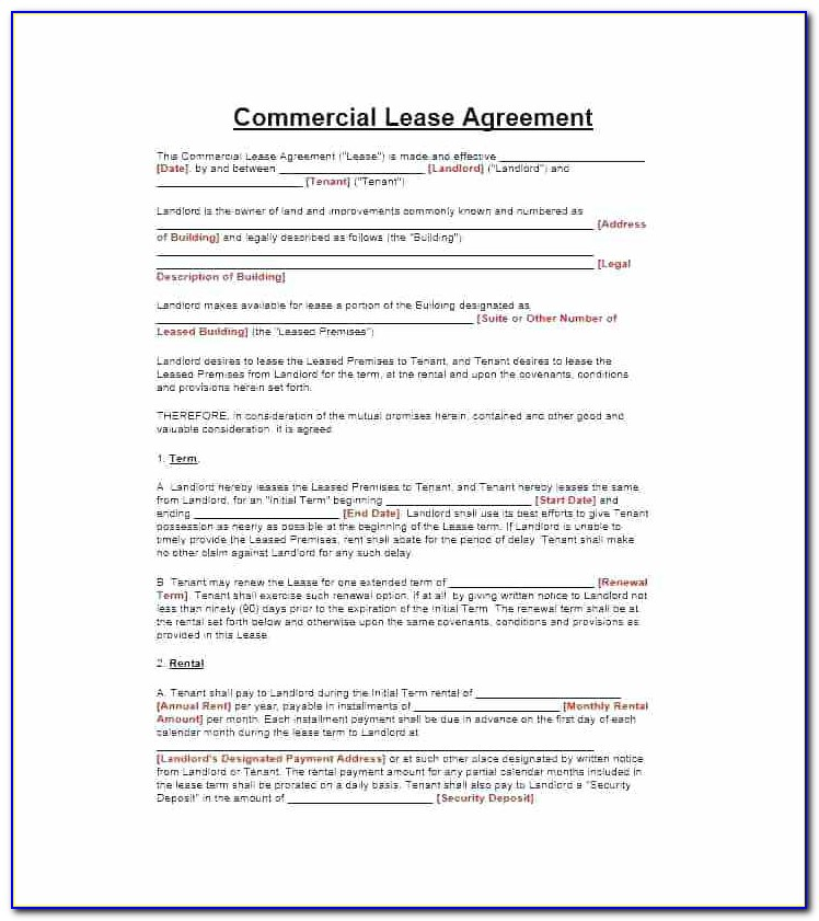 Free Warehouse Lease Agreement Template