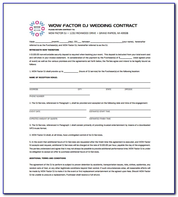 Free Wedding Dj Contract Template