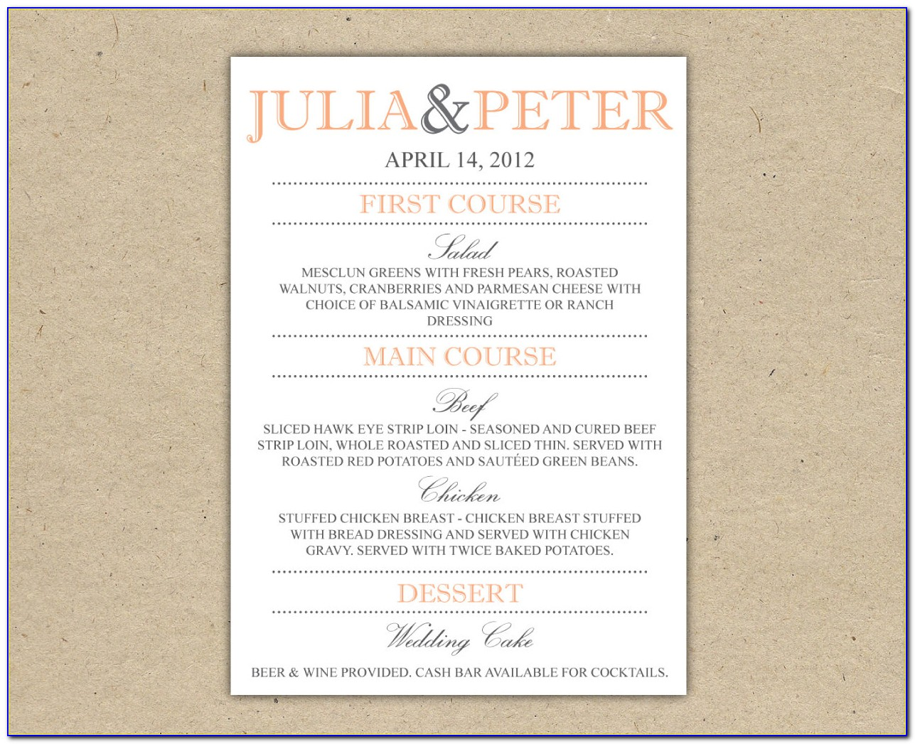 Free Wedding Rehearsal Dinner Menu Template