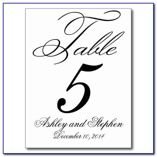 Free Wedding Table Numbers Template Word