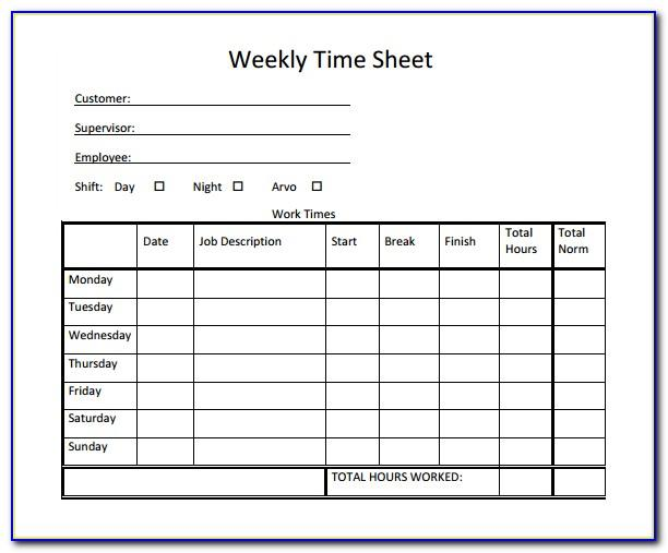 Free Weekly Timesheet Forms