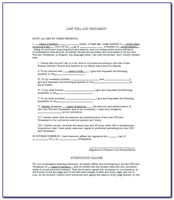 Free Will And Testament Template Nz