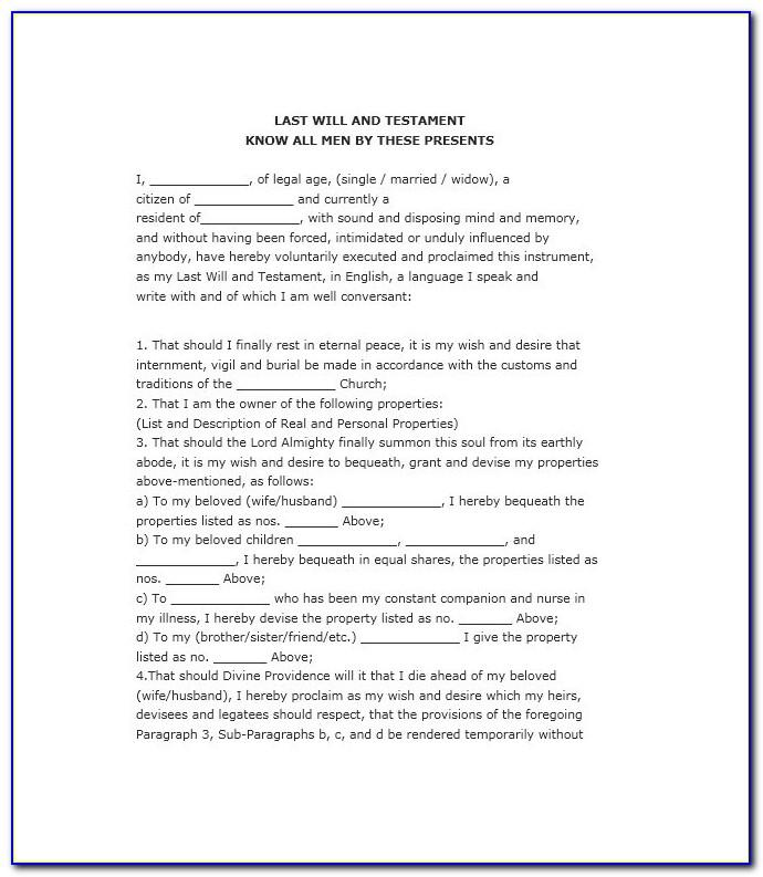 Free Will And Testament Template South Africa