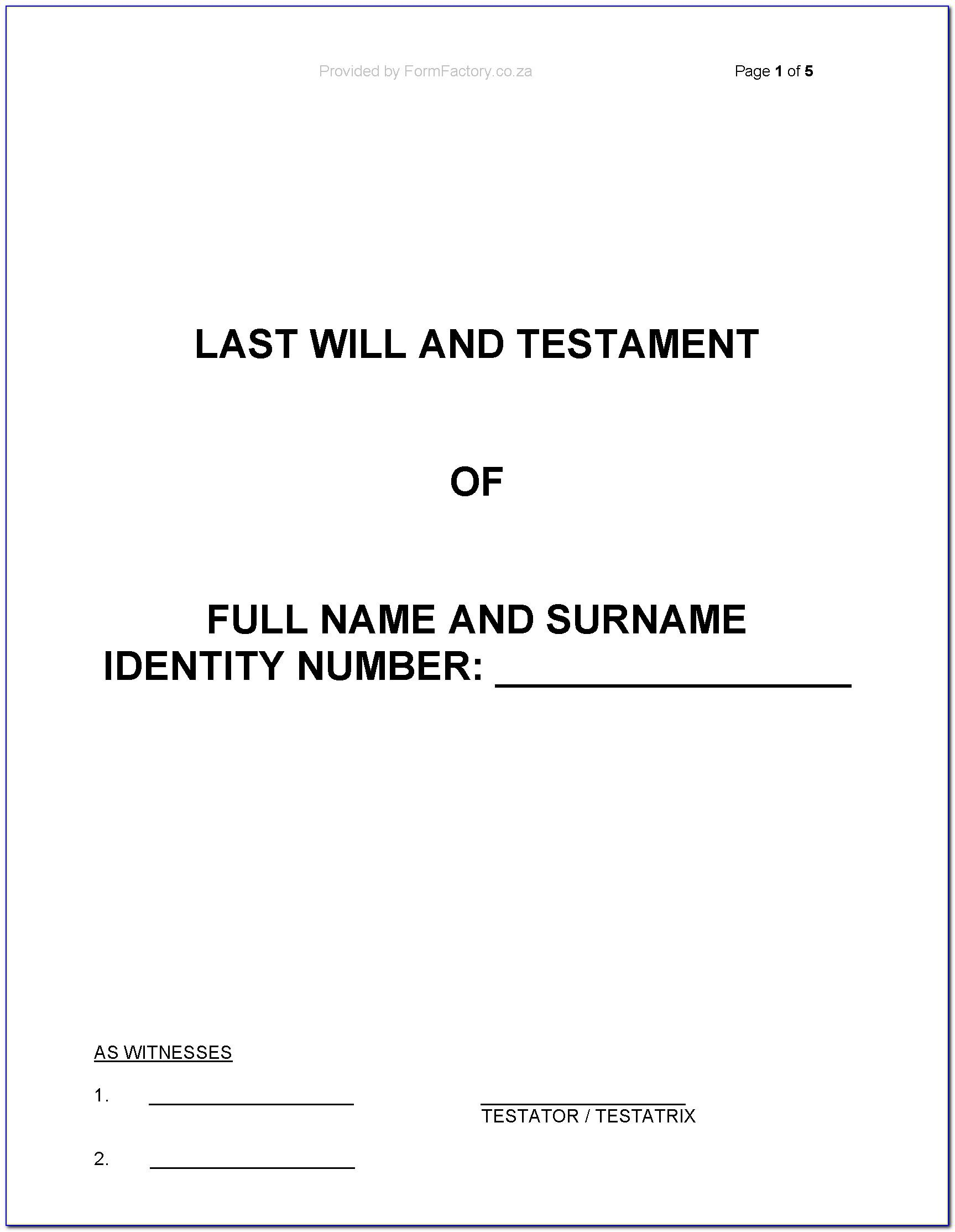 Free Will And Testament Template Uk