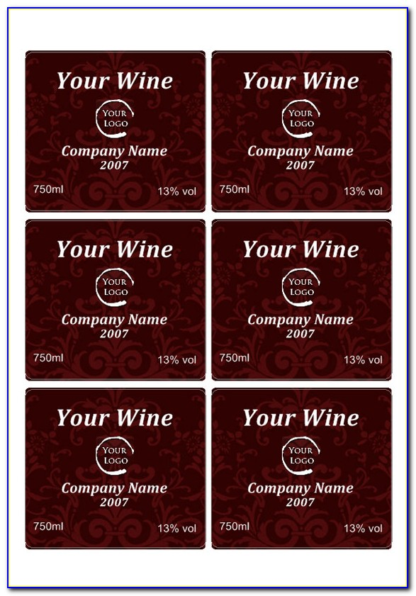 Free Wine Label Template For Word