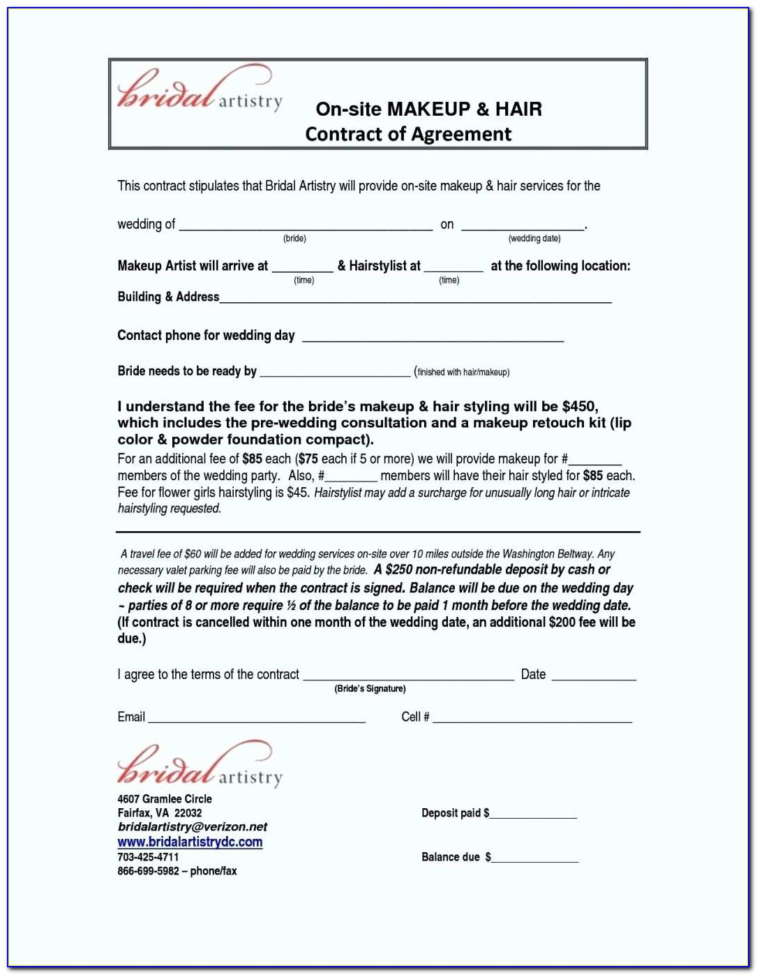 Freelance Hair Stylist Contract Template