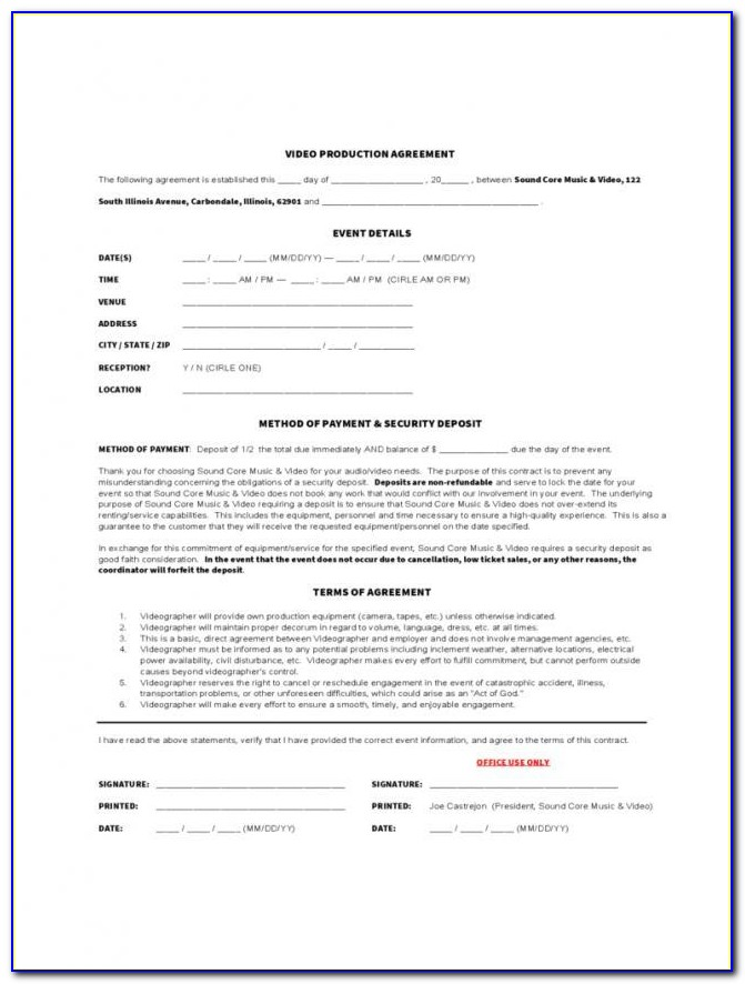 Freelance Producer Contract Template