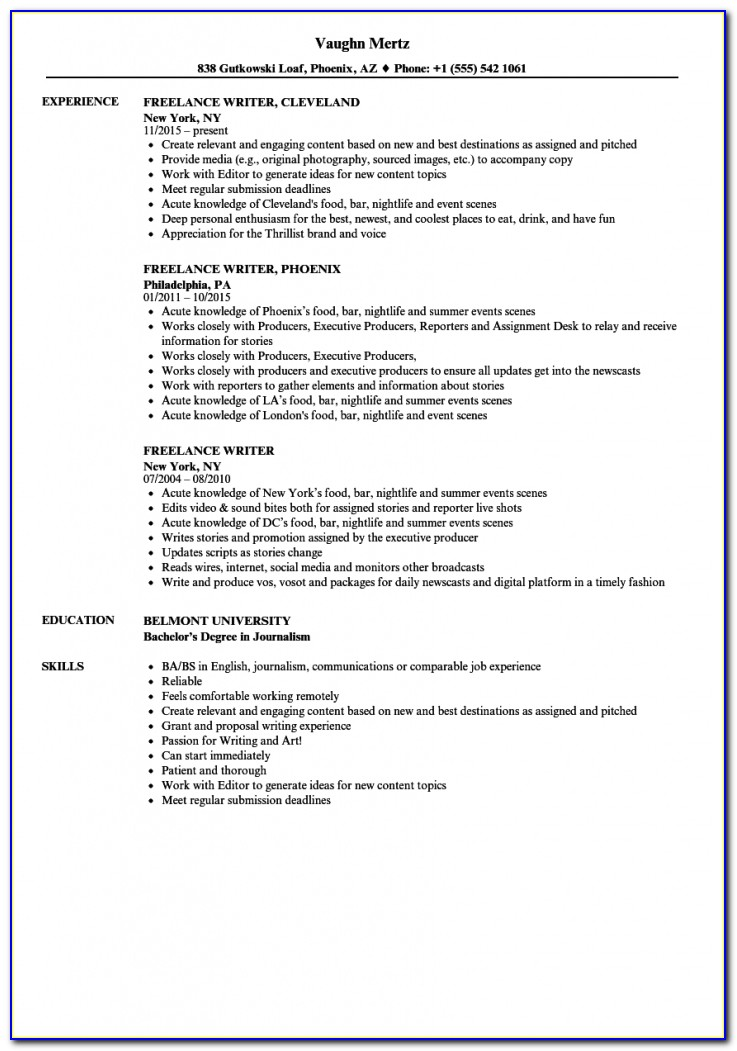 Freelance Writer Resume Samples | Velvet Jobs Freelance Writer Resume Sample
