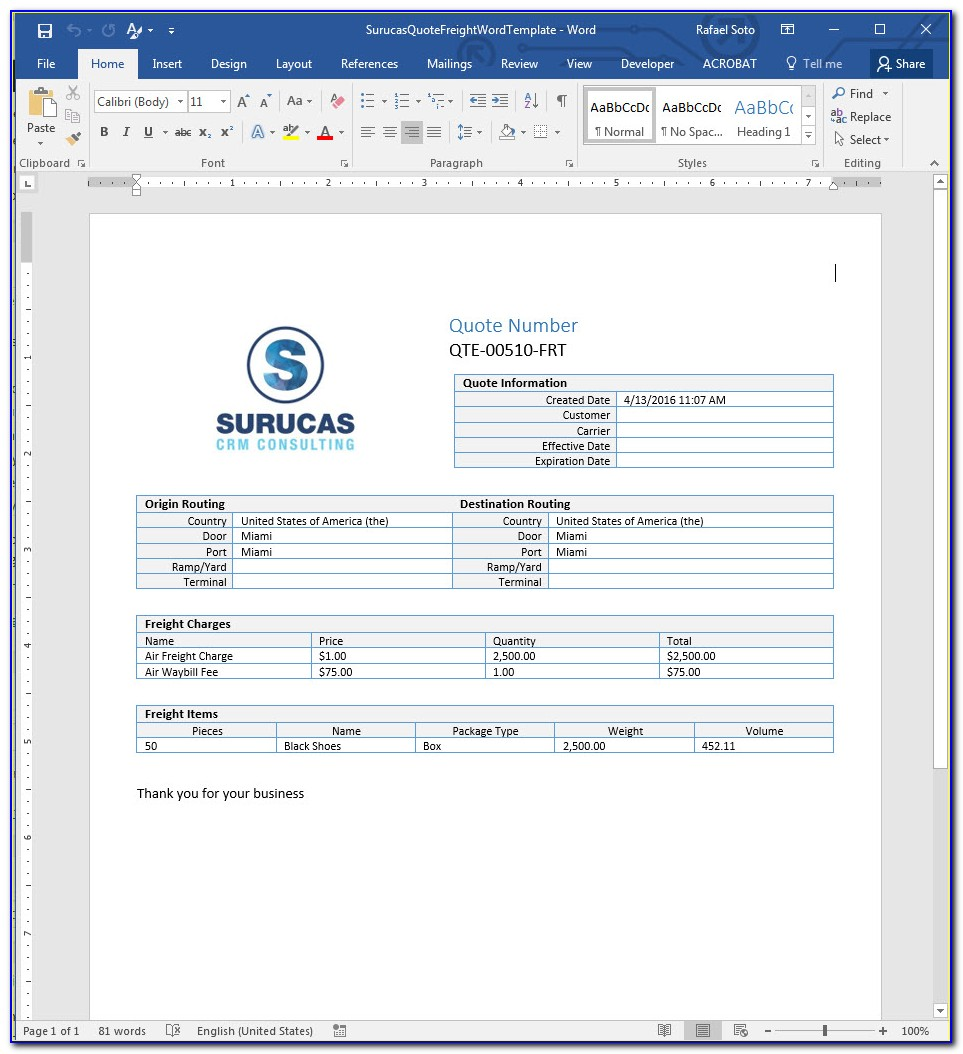 Freight Forwarder Quote Template