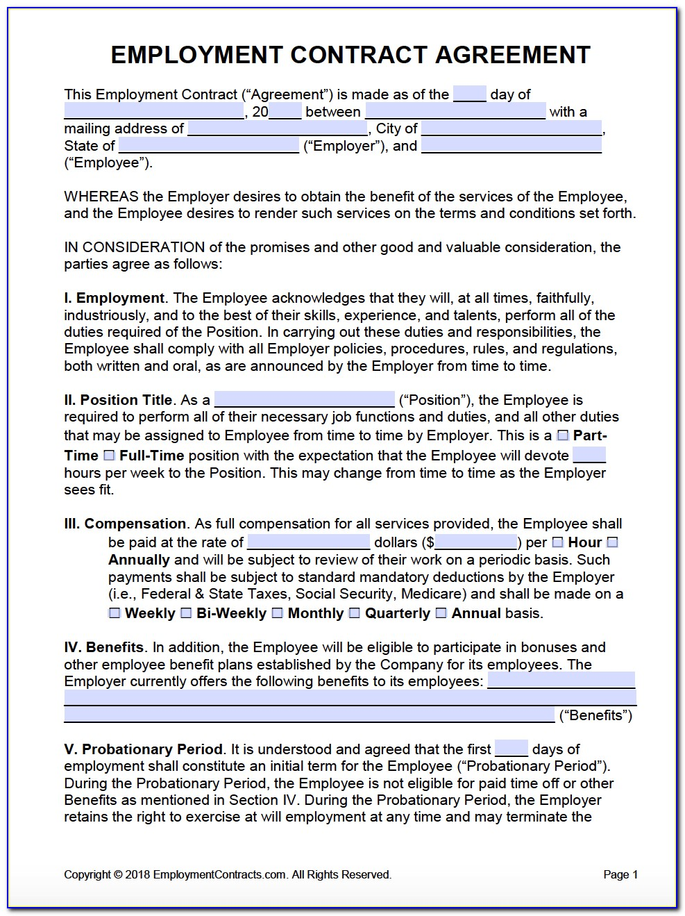 Full Time Employment Contract Template Nsw