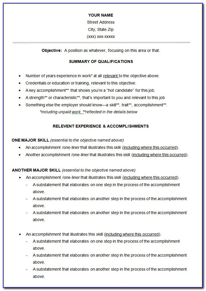 Functional Resume Format Free Vincegray2014