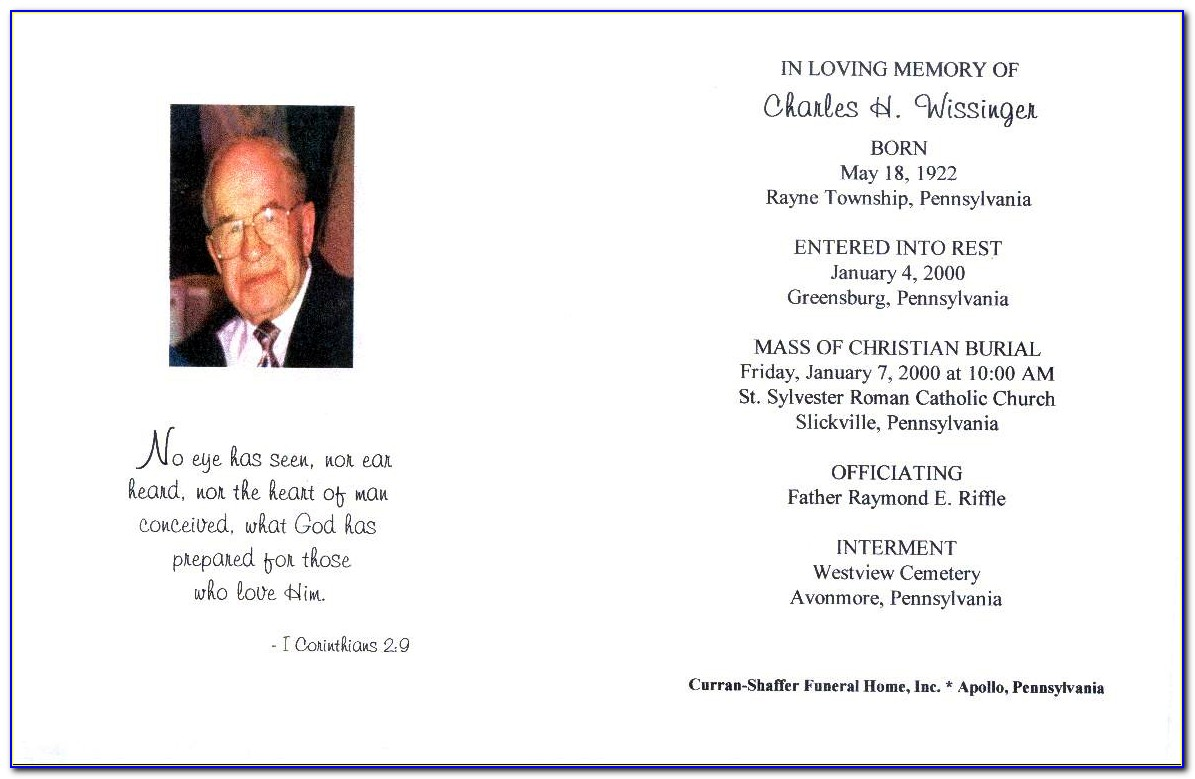 Funeral Card Template Microsoft Word