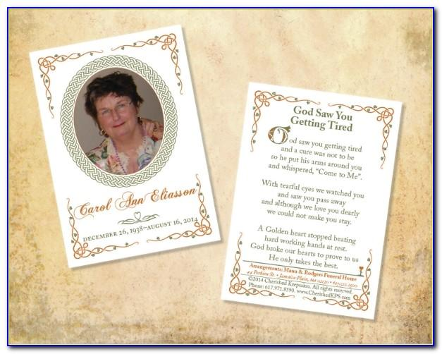 Funeral Cards Template Free