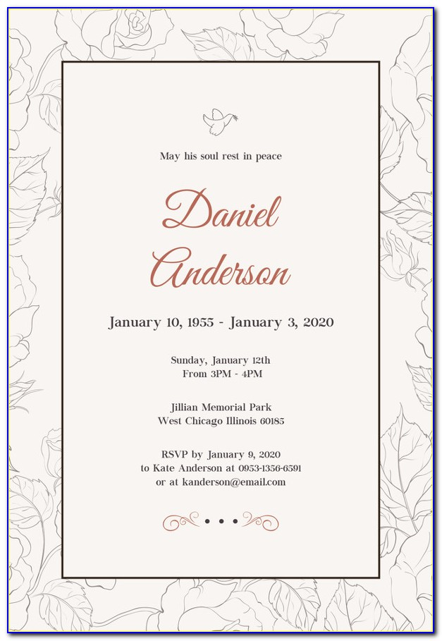 Funeral Invitation Template Word