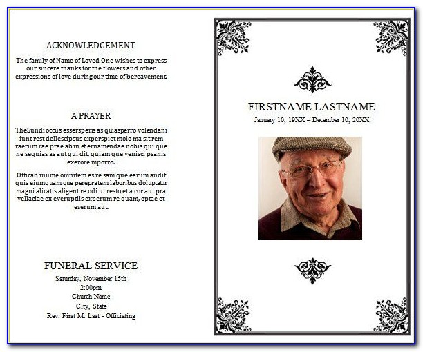 Funeral Order Of Service Template Publisher