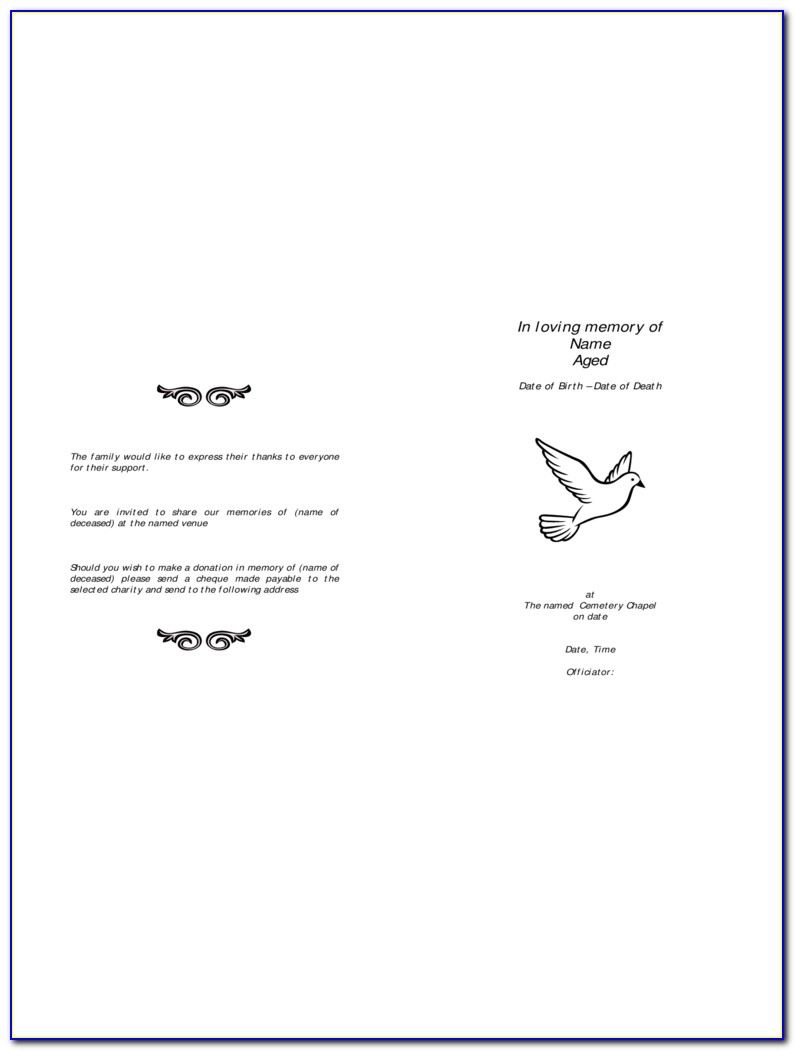 Funeral Order Of Service Templates Free