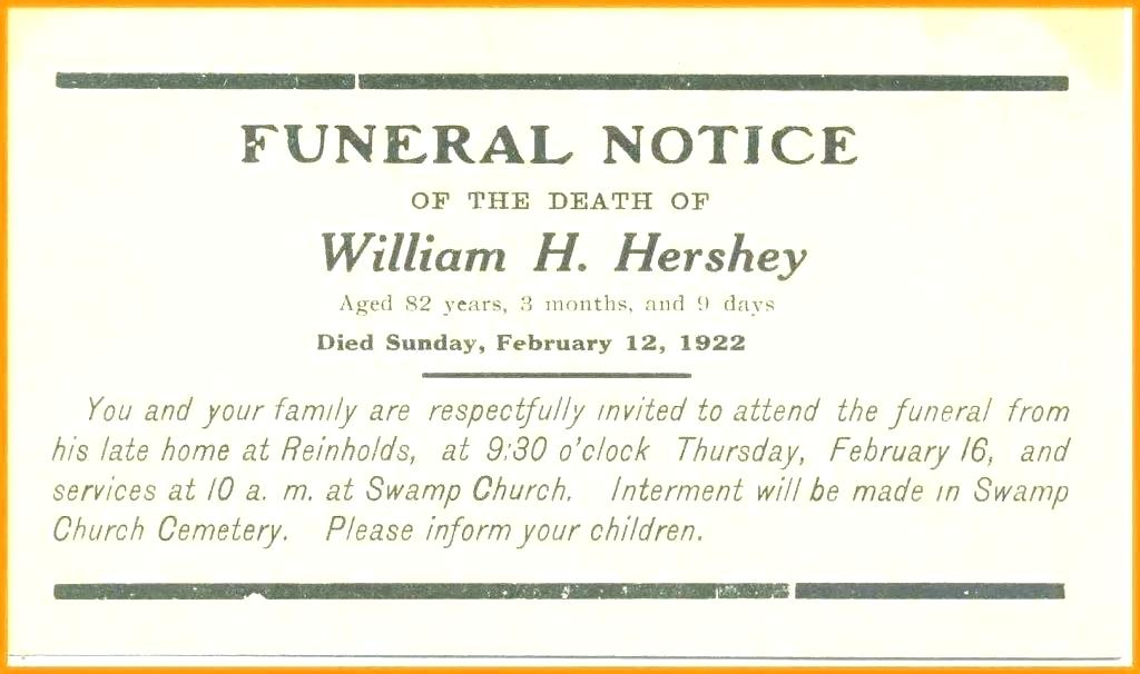 Funeral Service Announcement Examples