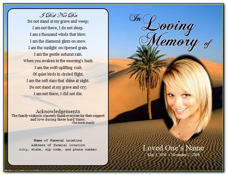 Funeral Service Card Templates