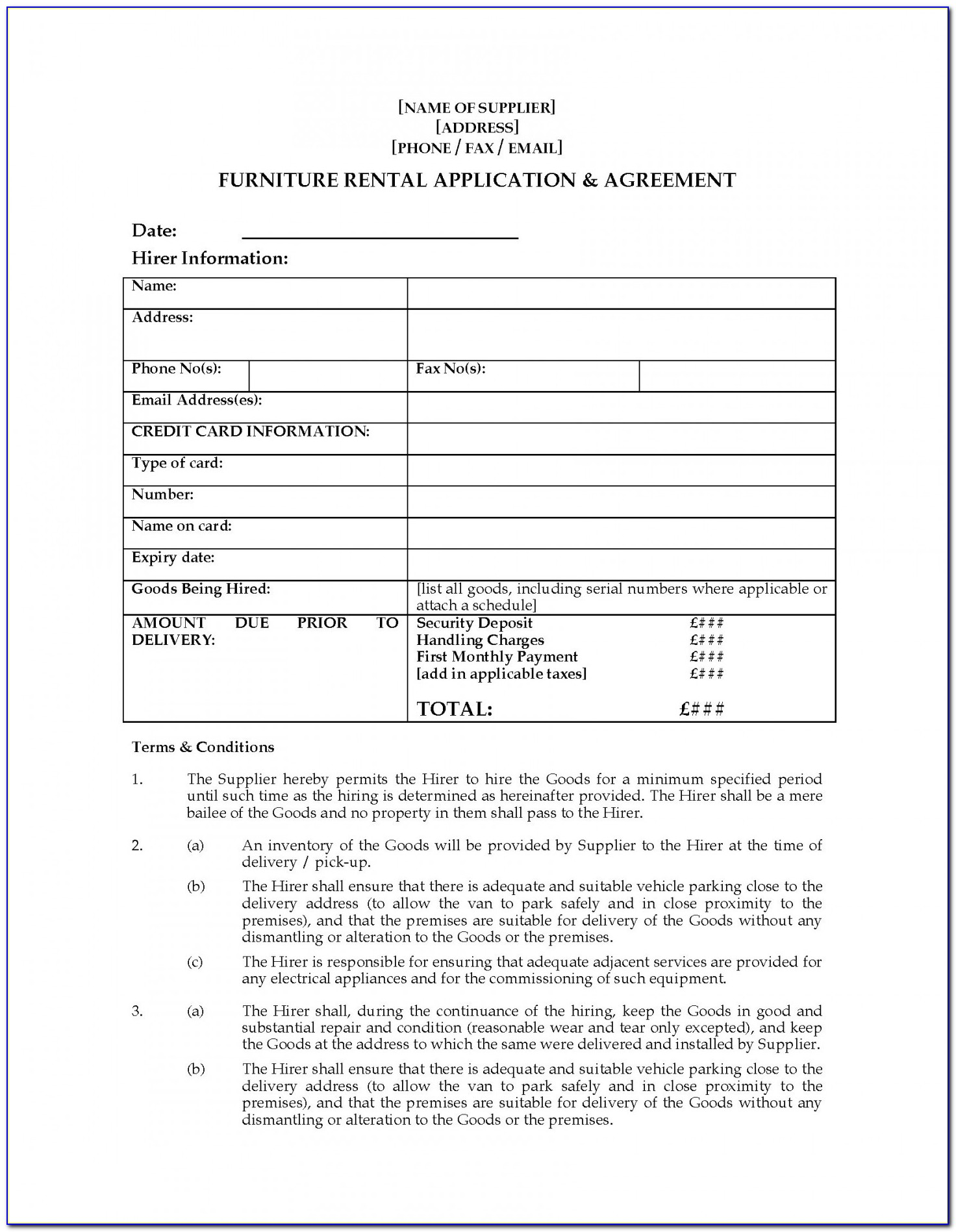 Furniture Lease Agreement Template Pic 49 Good Furniture Rental Agreement Template Word Pe D67958