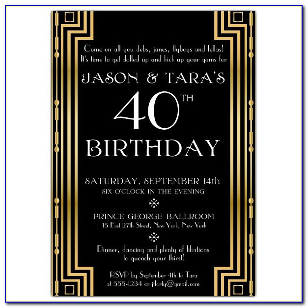 Gatsby Party Invitation Cards