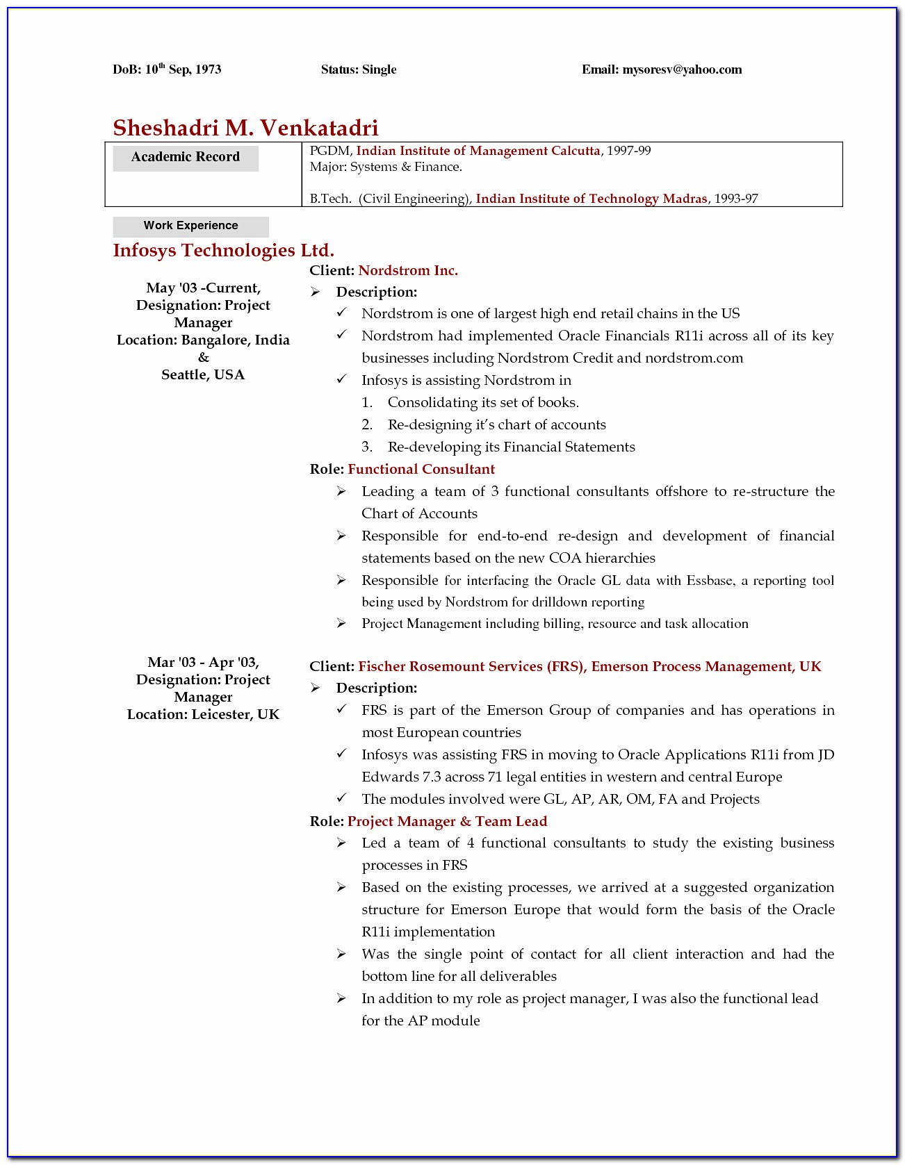 Examples A Cover Letter For A Resume Best Od Consultant Cover