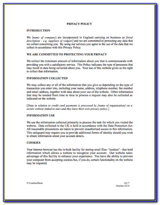 General Data Protection Regulation Privacy Policy Template
