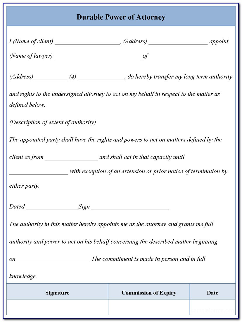 General Durable Power Of Attorney Example