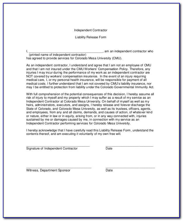 General Liability Release Waiver Form