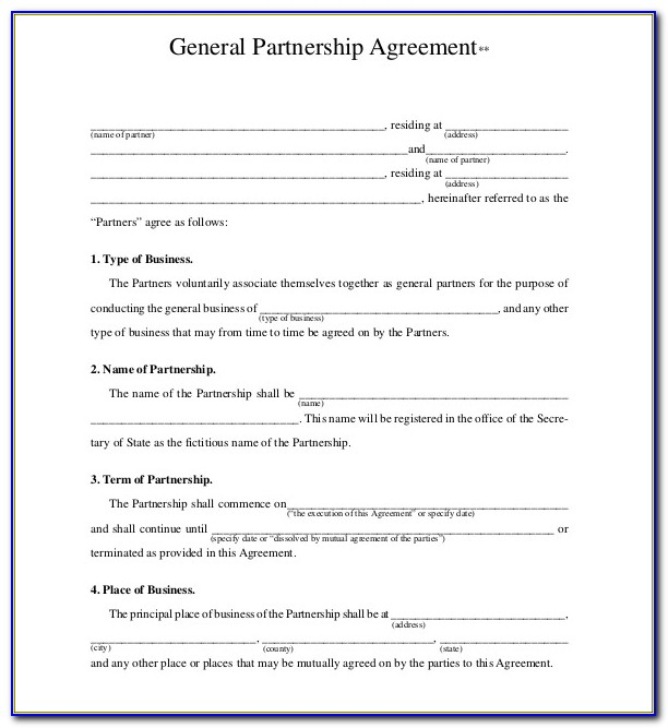 General Partnership Agreement Form Download