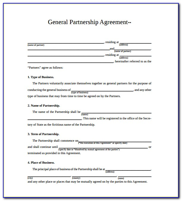 General Partnership Agreement Form Pdf