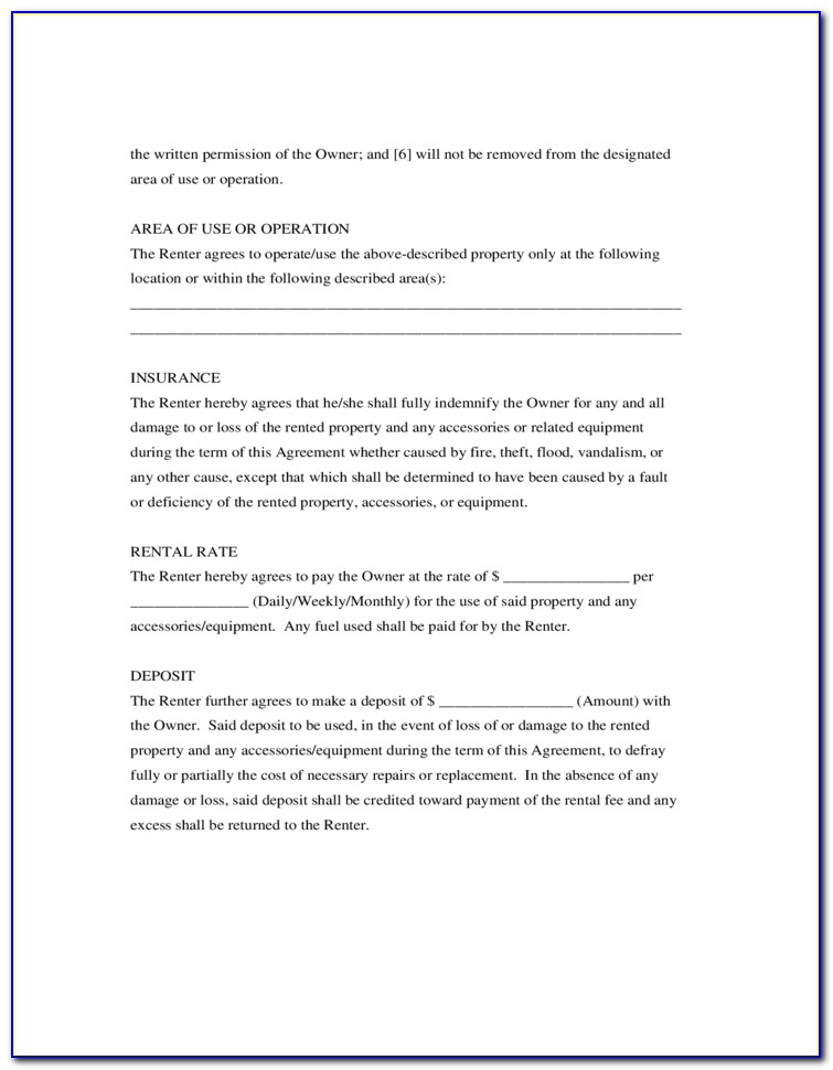 Generic Room Rental Agreement Form