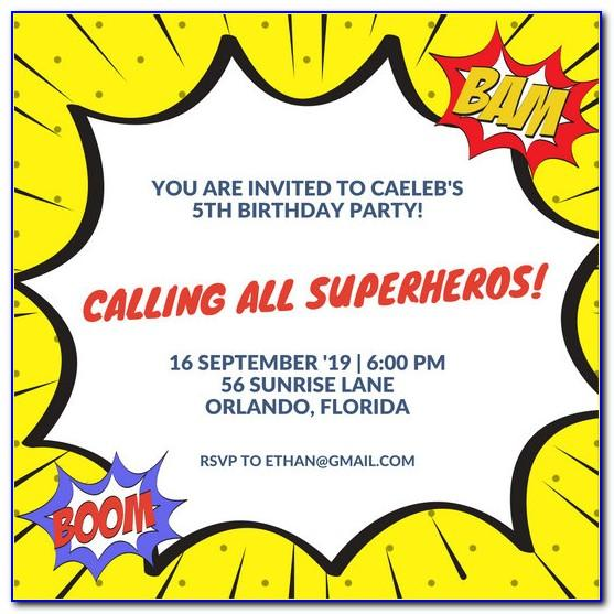 Girl Superhero Birthday Invitation Template