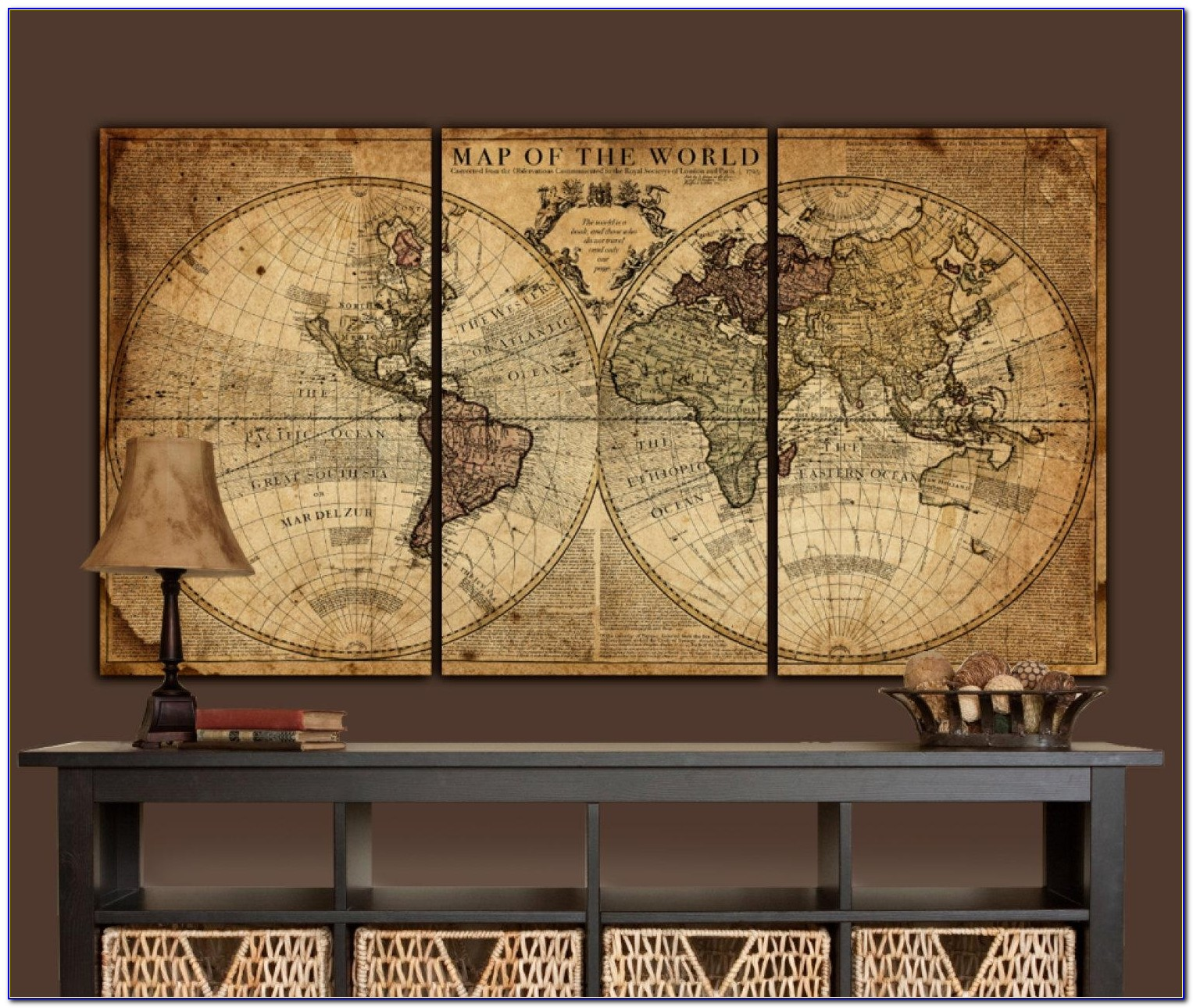 Globe Tan Map World Map Canvas Vintage Map Set Large Wall In Vintage Map Wall Art