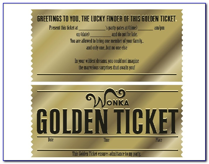 Golden Ticket Template Black And White