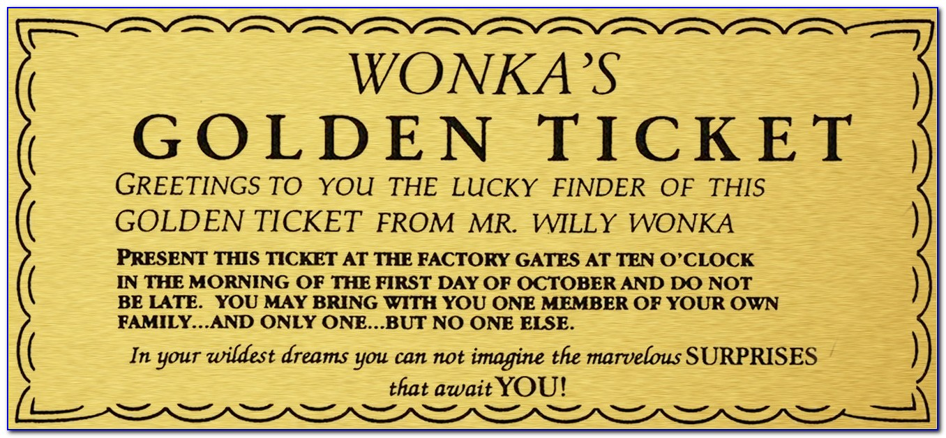 Golden Ticket Template Editable Free