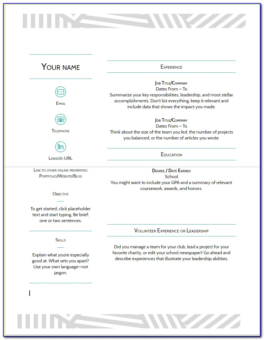 Google Docs Resume Template Free Download