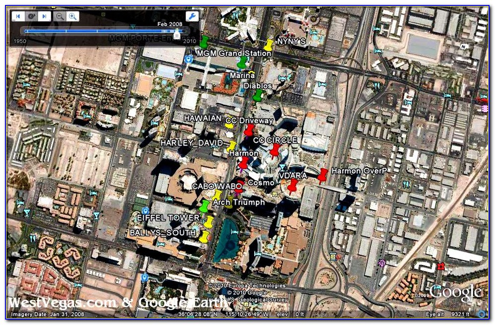 Google Earth Las Vegas Strip Map