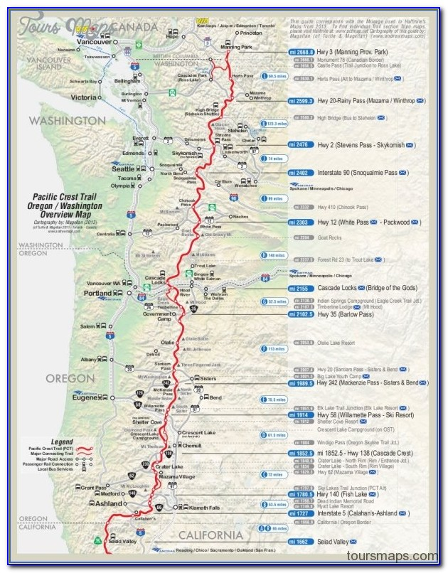 Google Map Of The Pacific Crest Trail