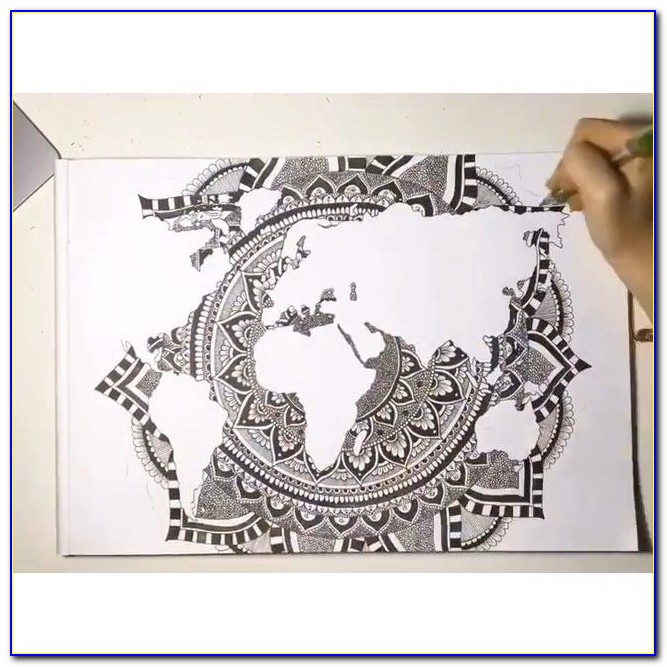 Gorgeous World Map Mandala By Em Carey