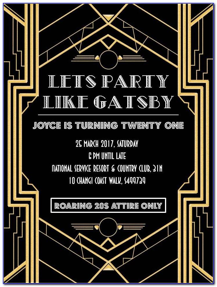 Great Gatsby Party Invitation Template Free Download
