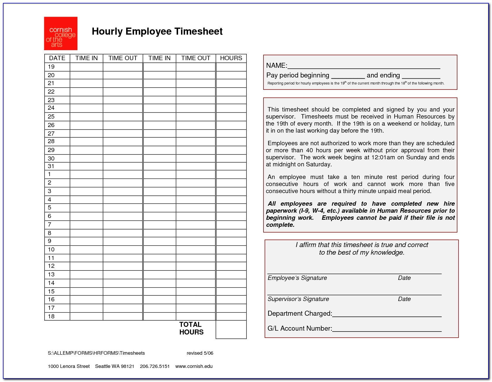 Group Employee Timesheet Template Free
