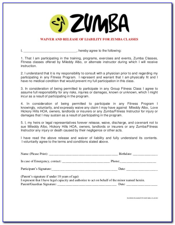 Group Fitness Waiver Template